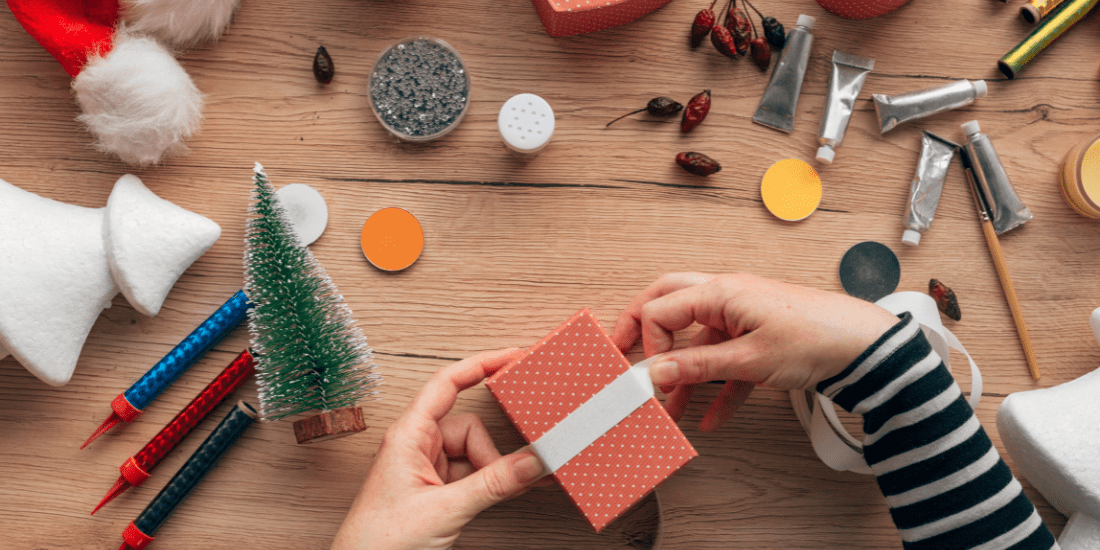 Wrapping gift with dollar tree crafts