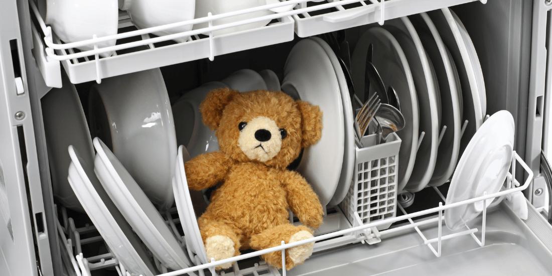 teddy bear in dishwasher
